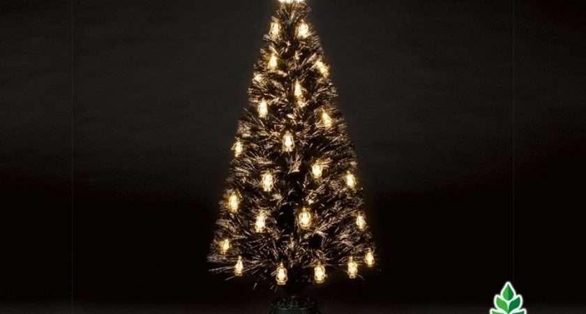 Home Snowtime Fibre Optic Lantern Tree Black Gold