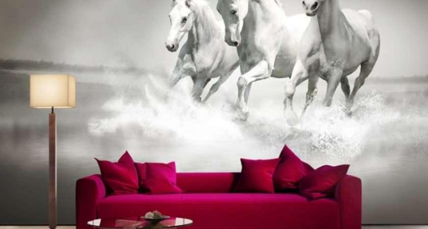 Horse Wall Mural Black White Living Room