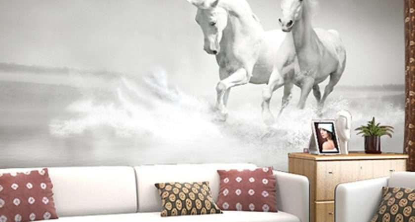 Horse White Backdrop Continental Wall
