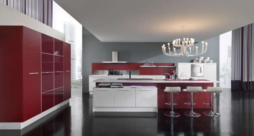 House Home Design New Modern Kitchen Red White