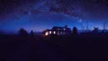 House Night Stars Sky Blue