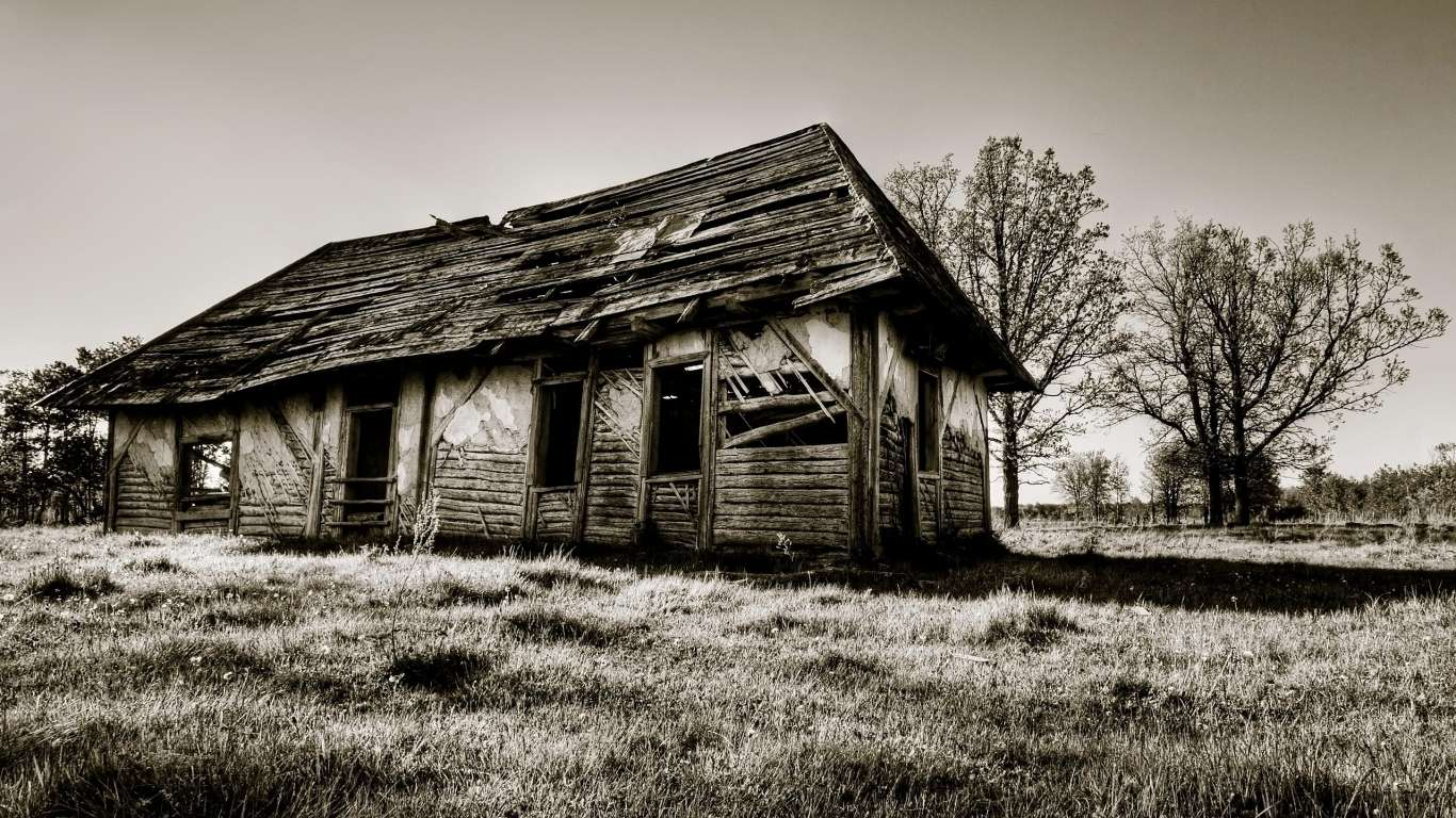 House Wooden Ruins Black White