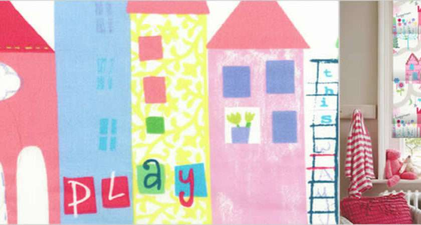 Houses Trees Flowers Patterned Kids Blinds Pink Blue Yellow