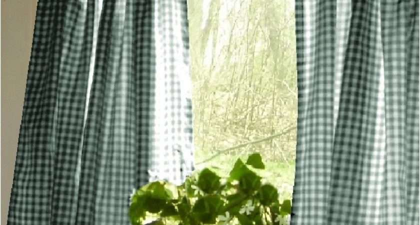 Hunter Green Gingham Kitchen Caf Curtain Unlined