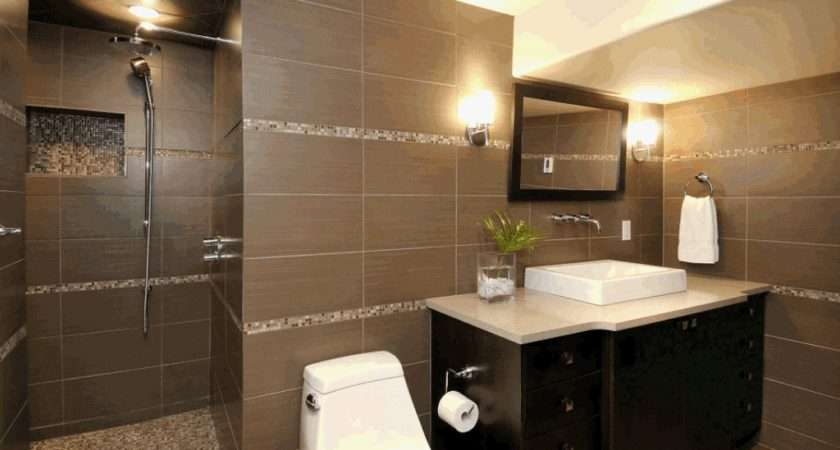 Ideas Tile Bathroom Design Black Brown