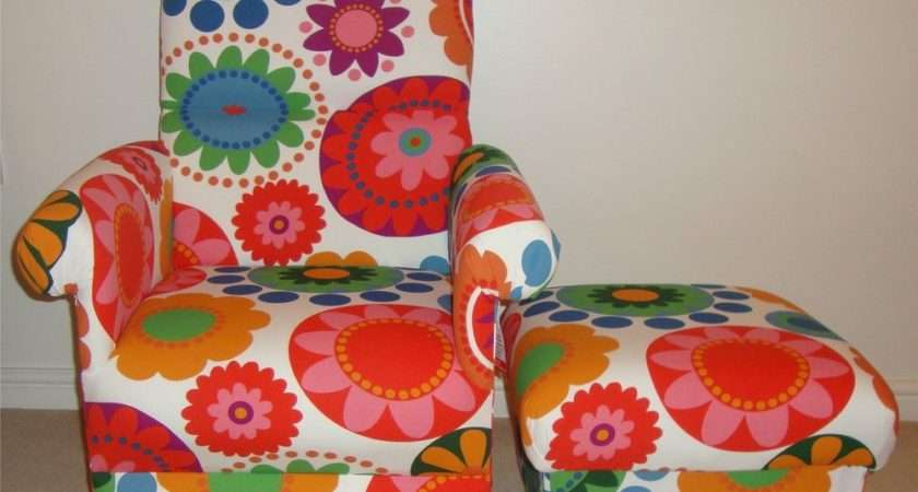 Ikea Frederika Fabric Chair Footstool Armchair Funky Retro Flowers