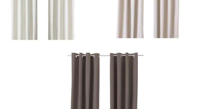 Ikea Pair Curtains Panels Drapes Heavy Fabric Eyelet