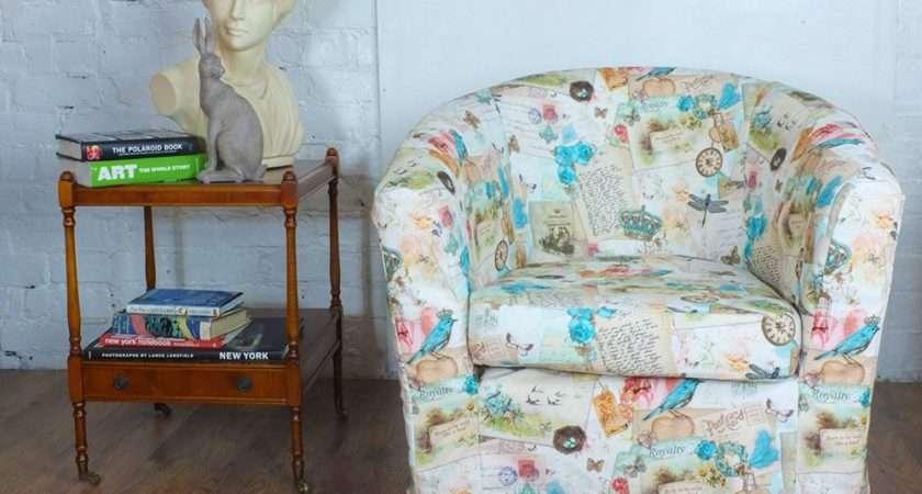 Ikea Tullsta Tub Chair Cover Beautiful Vintage Look Bird