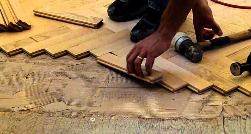 Installing Hardwood Red Oak Herringbone Floor