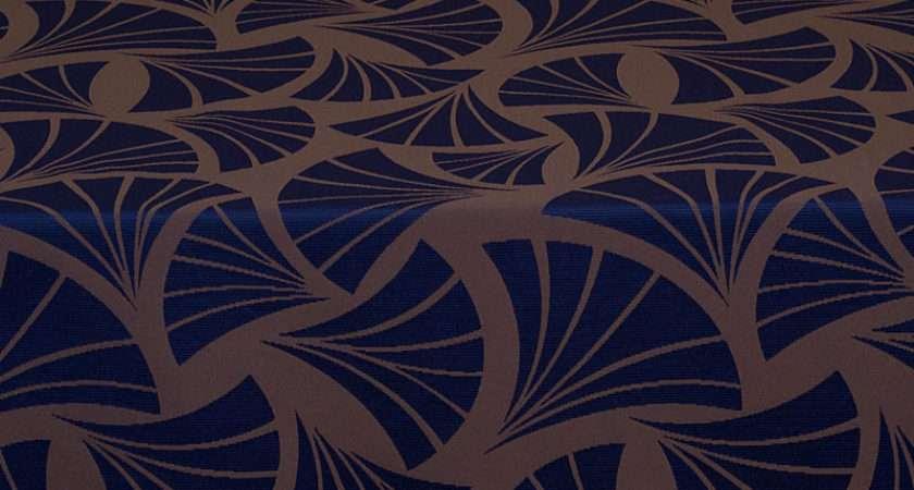 Italian Art Deco Trevira Blue Polyester Damask Curtain Fabric