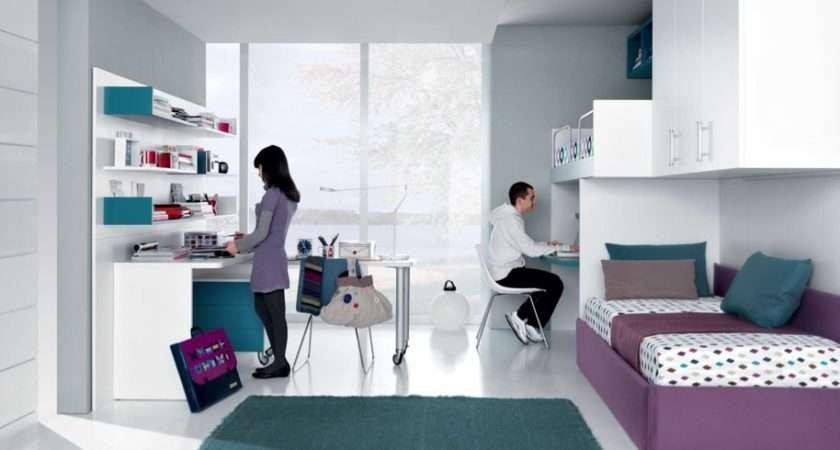 Jade Mauve White Contemporary Teenagers Room Shared