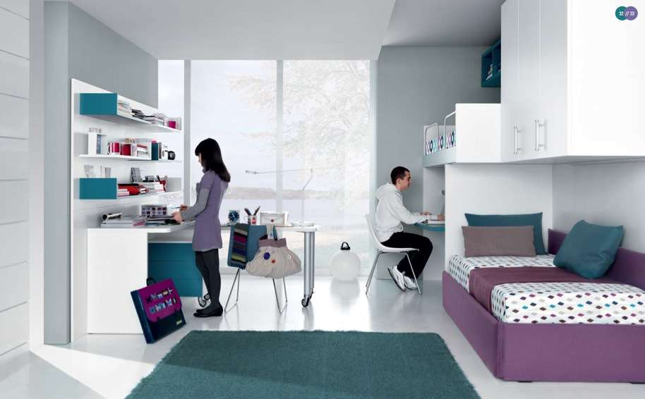 Jade Mauve White Contemporary Teenagers Room Shared