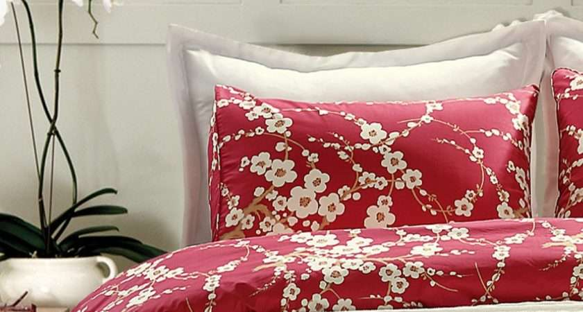 Japanese Oriental Style Cherry Red Blossom Floral Branches