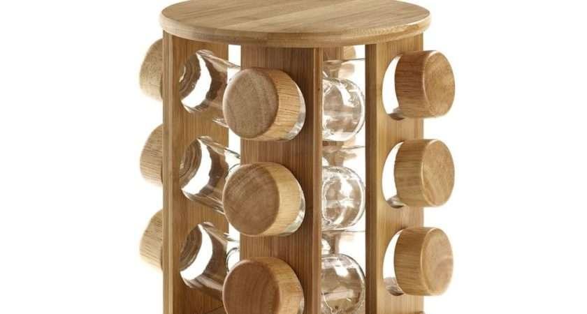 Jar Rotating Revolving Wooden Bamboo Spice Rack Glass
