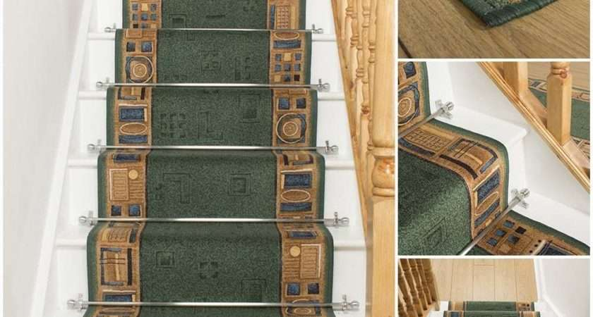 Jena Green Stair Carpet Runner Narrow Staircase