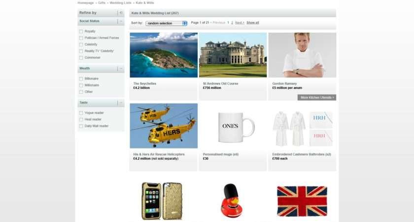 John Lewis Royal Wedding List Humour Gift