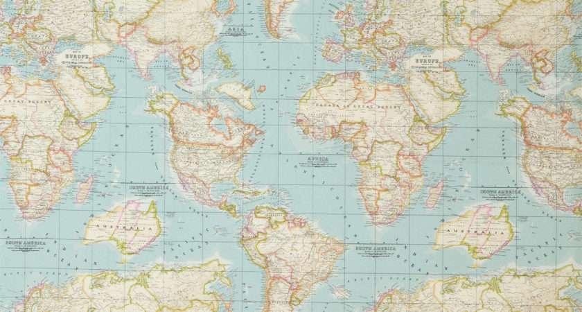 John Lewis World Map Furnishing Fabric Blue