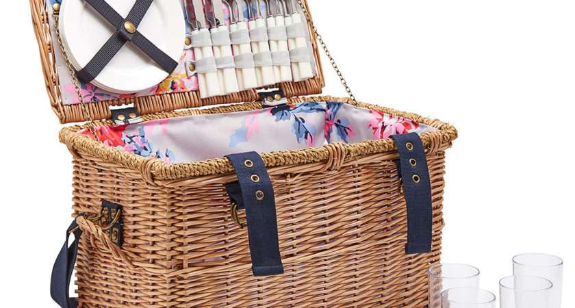 Joules Whitstable Floral Print Lining Filled Wicker Picnic