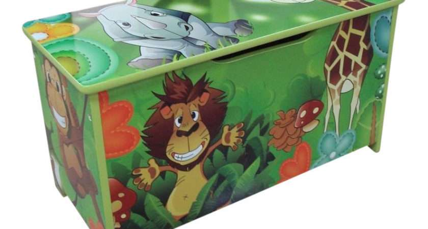 Jungle Green Kids Childrens Wooden Toy Box Bench Storage Brand