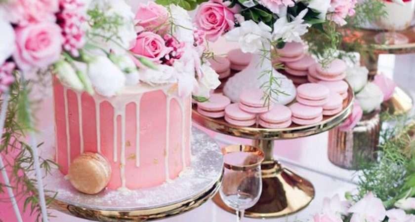Kara Party Ideas Pink White Gold Garden