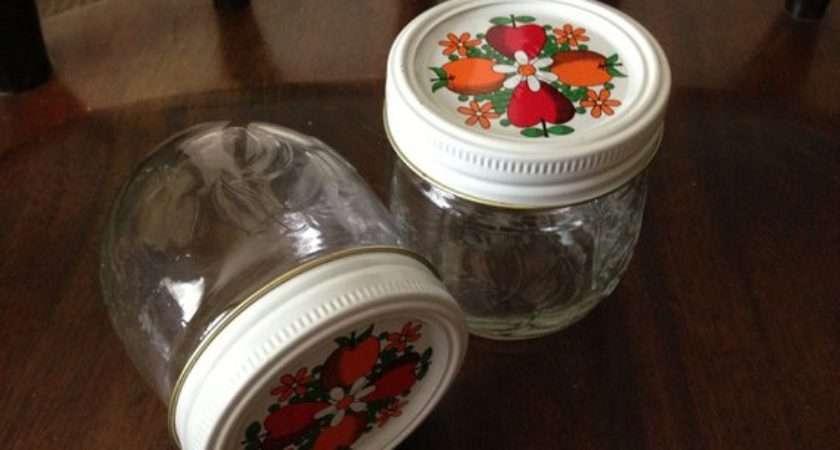 Kerr Decorated Jam Jelly Jars Lids