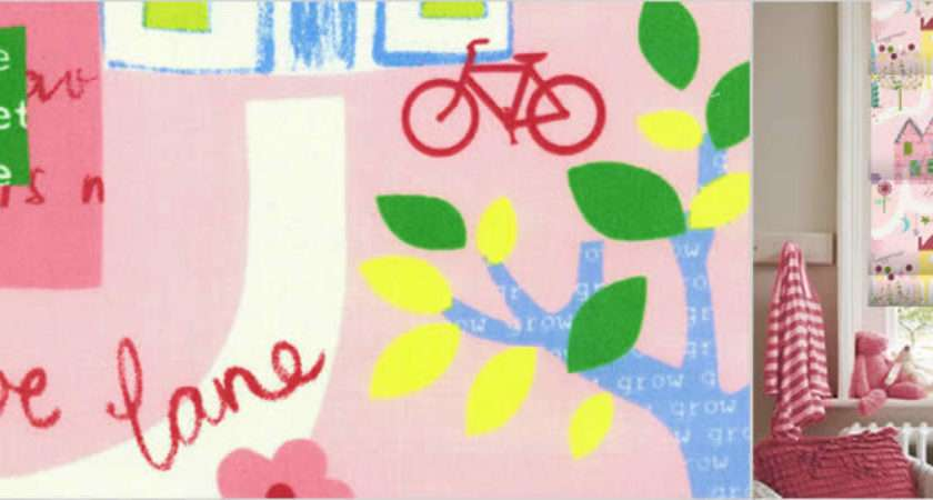 Kids Blinds Gorgeous House Flowers Trees Bicycles Pink Roman