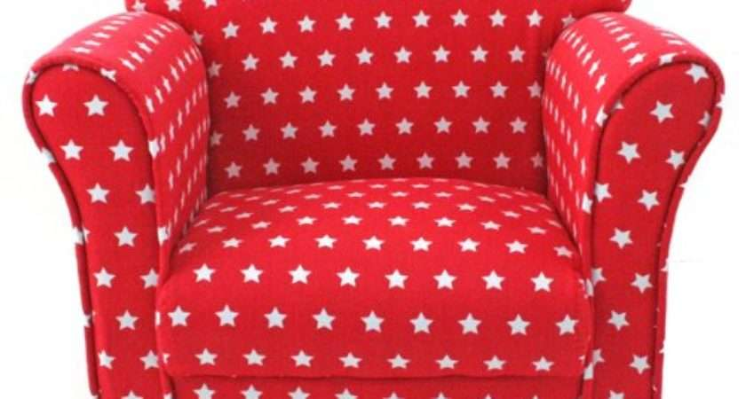 Kids Childrens Red White Stars Fabric Tub Chair