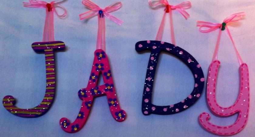 Kids Wall Letters Girly Personalized Homemade Nursery Decor