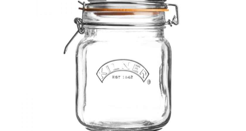 Kilner Clip Top Square Litre Preserve Storage Glass Jars