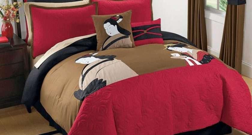 King Black Red Brown Asian Inspired Japanese Comforter