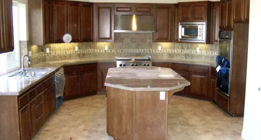 Kitchen Attractive Shaped White Ceiling Dark Brown