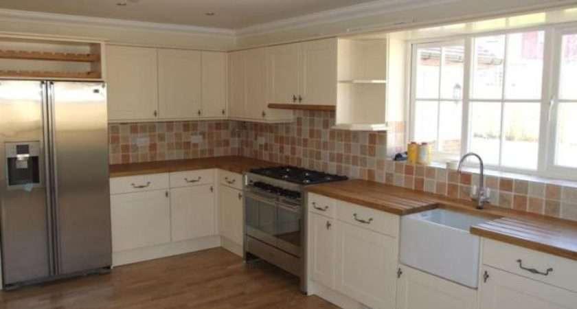 Kitchen Belfast Sink Wooden Worktop American Fridge
