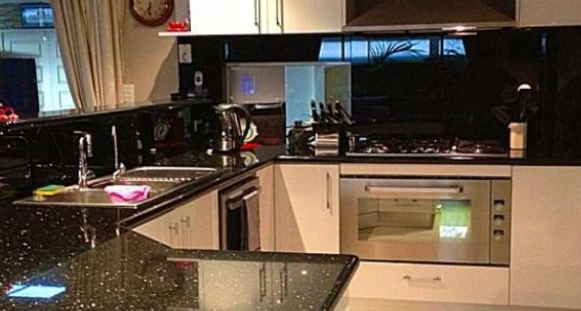 Kitchen Black Galaxy Granite Sparkly Glass