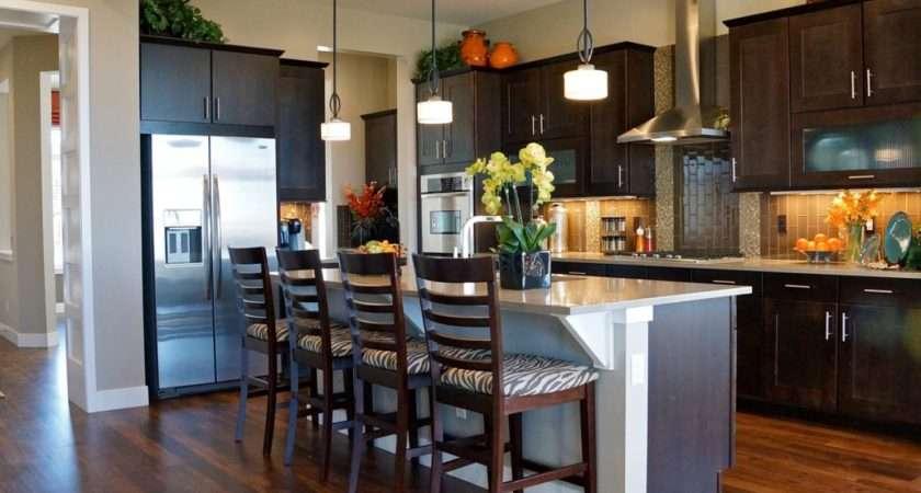 Kitchen Breakfast Bar Dark Brown Wood Cabinets Island