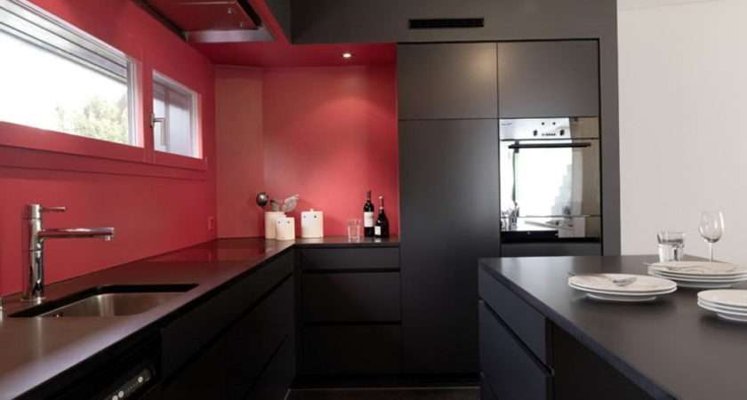Kitchen Cabinets Black Red Home Design Ideas
