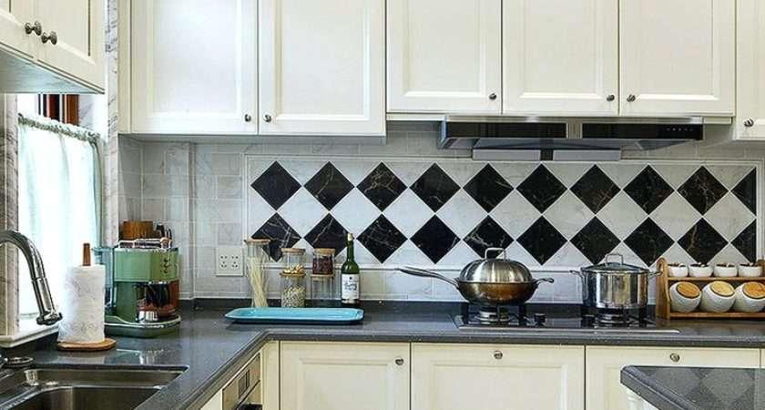 Kitchen Charming Floor Tiles Black White
