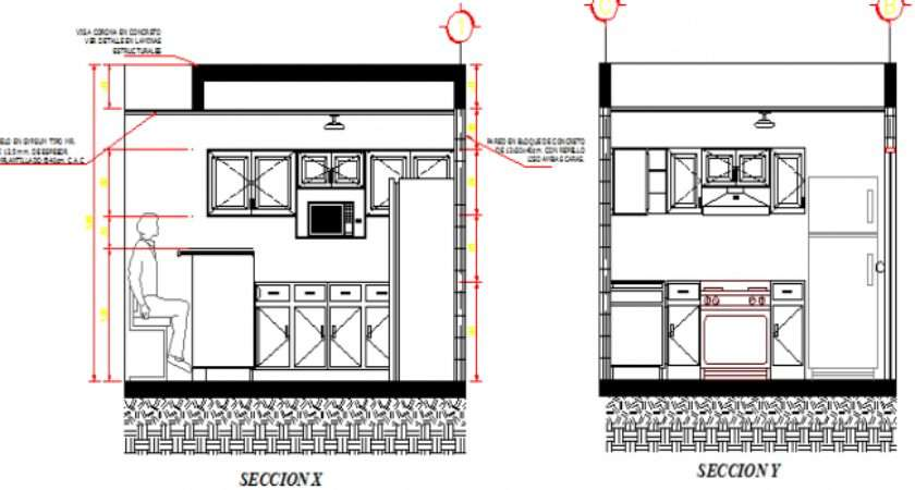 Kitchen Details Right Left Side Section Dwg