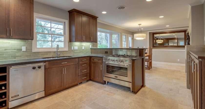 Kitchen Dining Room Travertine Tile Floor Envision