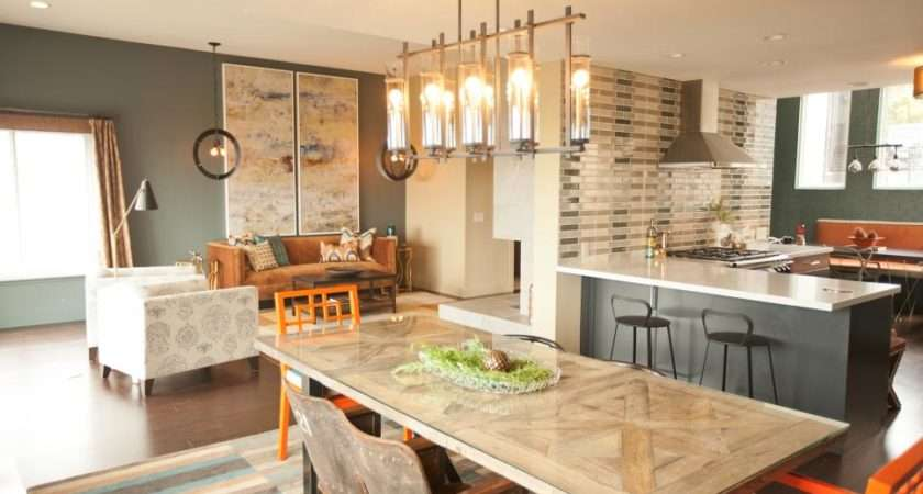 Kitchen Great Room Orange Chairs Stone Fireplace