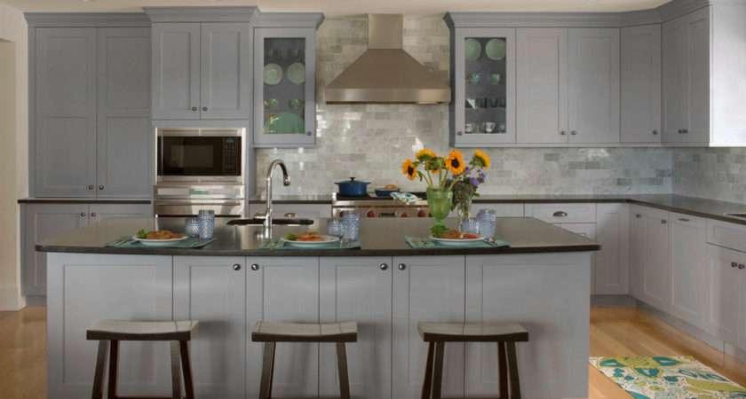 Kitchen Ideas Light Grey Shaker Cabinets Brass Knobs Asian