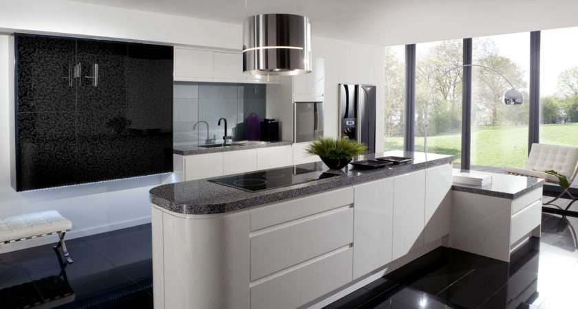 Kitchen Interior Incredible Modern Black White
