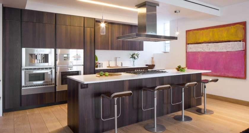 Kitchen Island Breakfast Bar Art Penthouse Apartment Tribeca