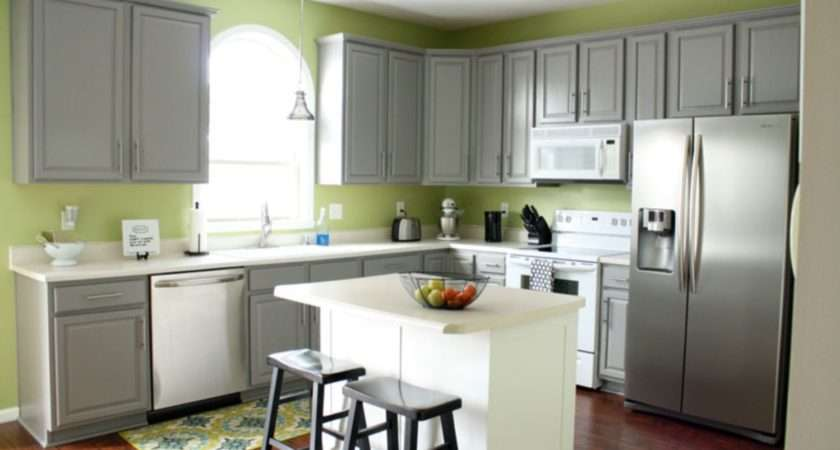 Kitchen Island Grey White Color Scheme