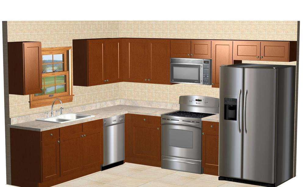 Kitchen Kompact Shaped Glenwood Beech Cabinets New