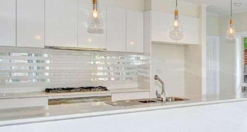 Kitchen Pendant Lights Mirrored Tile Splashback Home Pinterest