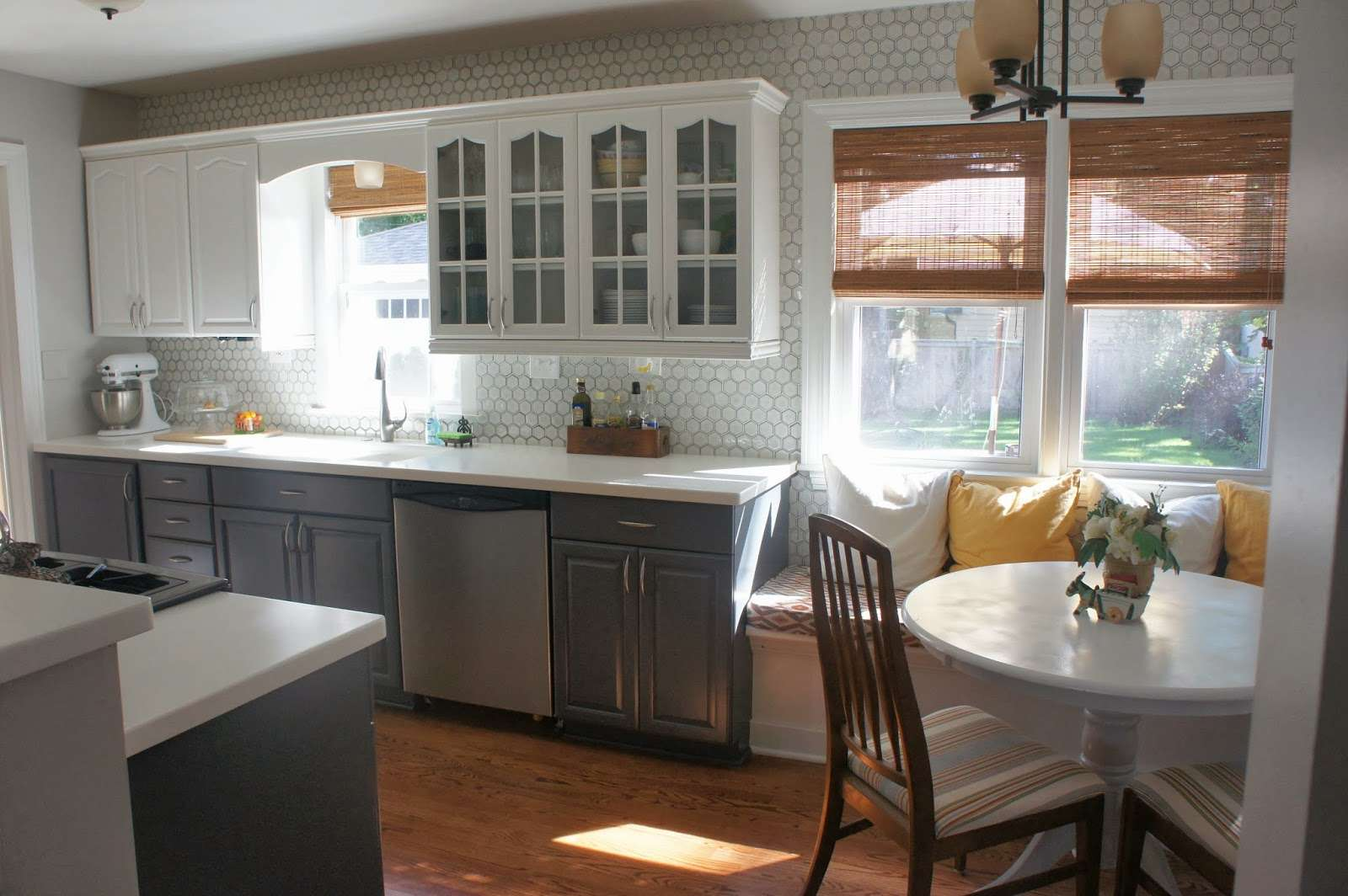 Kitchen Small Makeover Gray White Cabinets Along