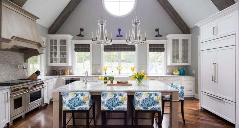 Kitchen Vaulted Gray Ceiling Wood Beams