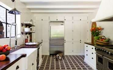 Kitchen White Box Beams Floor Ceiling Cabinets
