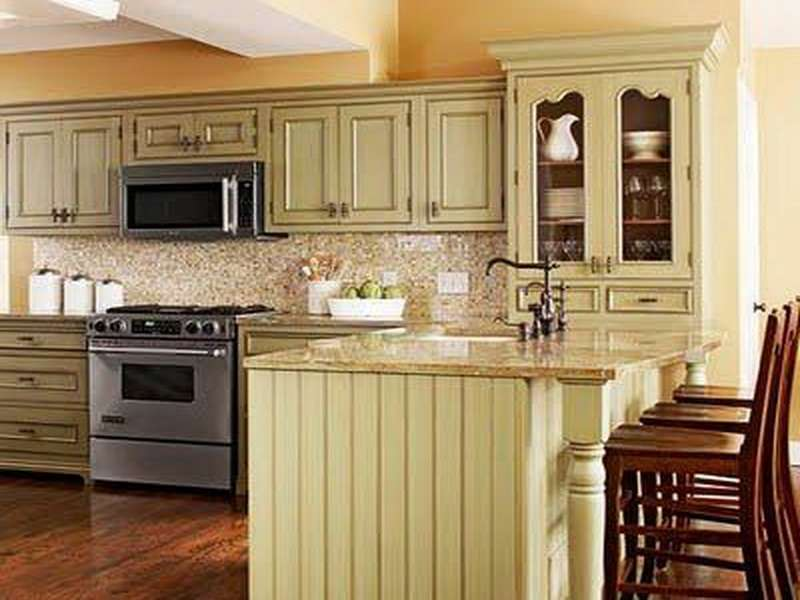 Kitchen Yellow Bright Green Cabinets