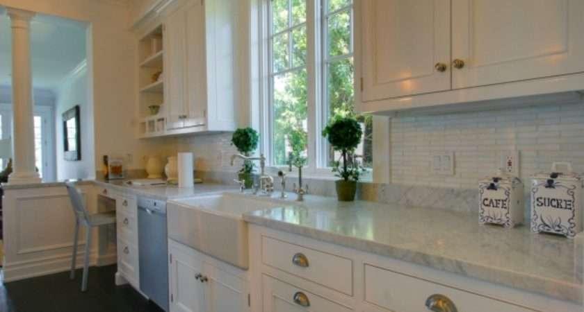 Kitchens Gray Green Subway Tiles Backsplash White Shaker Kitchen